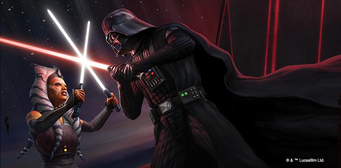 Darth Vader and Ahsoka clash